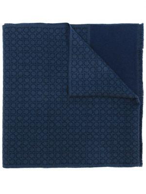 Шерстяной шарф - синий Salvatore Ferragamo