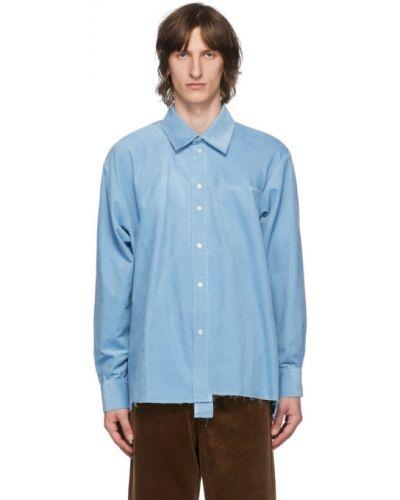 Синяя рубашка с воротником вельветовая с манжетами Camiel Fortgens