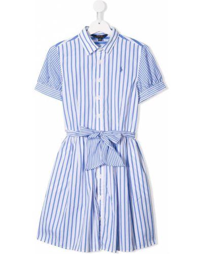 Платье с рукавами в полоску короткое Ralph Lauren Kids