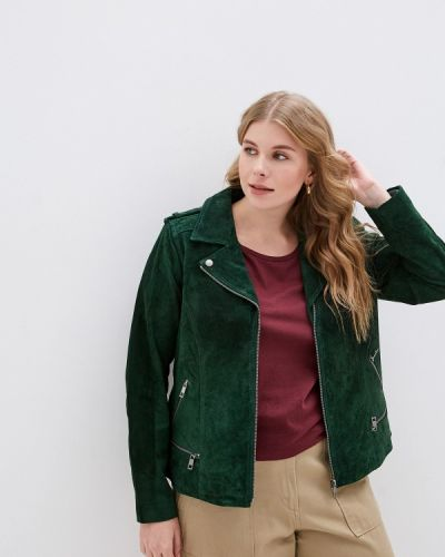 Кожаная куртка осенняя зеленая Zizzi