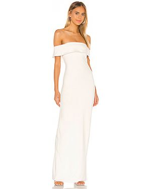 Белое шелковое вечернее платье с декольте на молнии Lovers + Friends