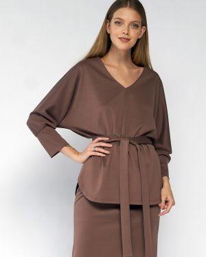 С рукавами прямая блузка с поясом из вискозы Fiato