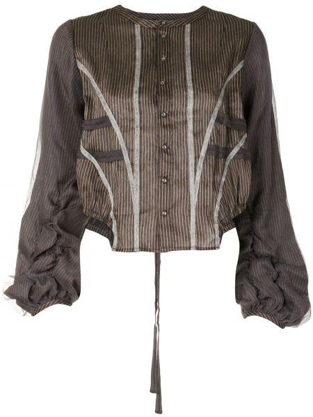 Нейлоновая асимметричная блузка с длинным рукавом с оборками с драпировкой Renli Su
