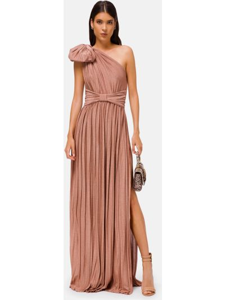 Бежевое платье из вискозы Elisabetta Franchi