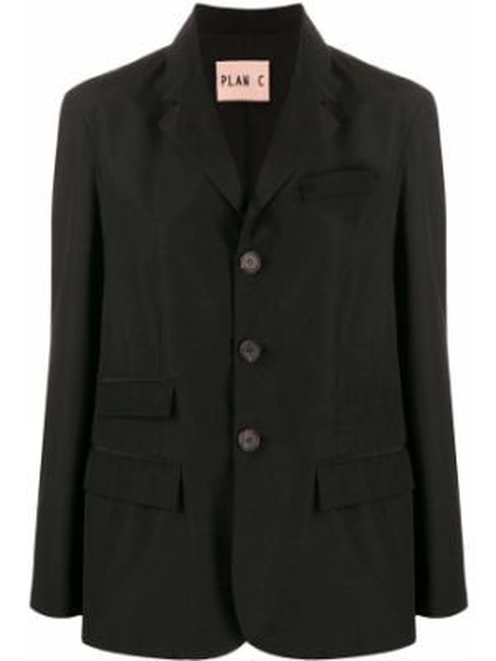 Черный удлиненный пиджак с карманами свободного кроя Plan C