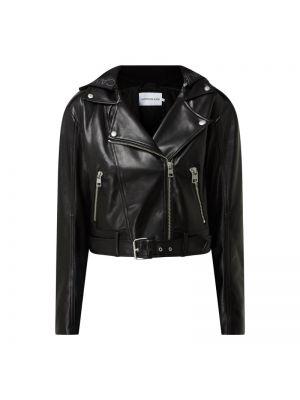 Czarna kurtka jeansowa z kapturem asymetryczna Calvin Klein Jeans