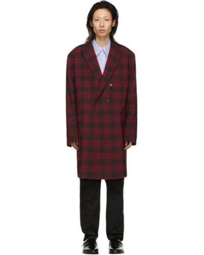 Wełniany czarny z rękawami długo płaszcz z klapą Balenciaga