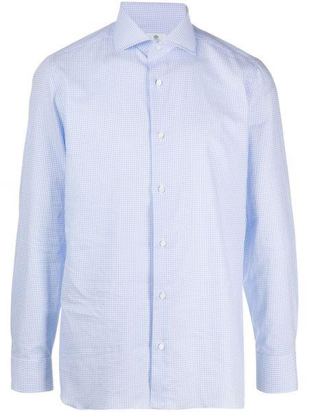 Koszula z długim rękawem prosto niebieski Borrelli