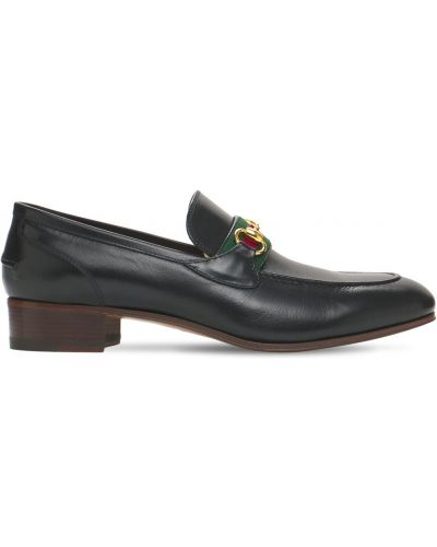 Czarne loafers skorzane Gucci