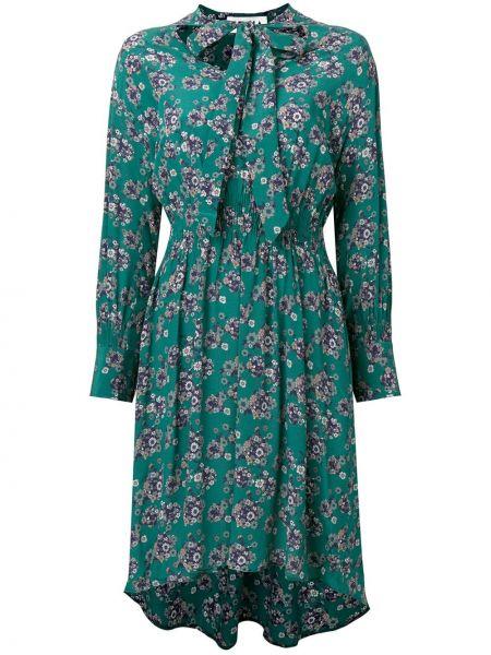 С рукавами зеленое шелковое платье миди с бабочкой Teija