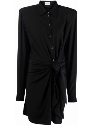 Шелковое черное платье макси на пуговицах Magda Butrym