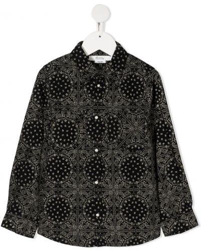 Czarna klasyczna koszula bawełniana z długimi rękawami Bonpoint