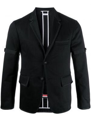 Bawełna czarny blezer z klapami z długimi rękawami Thom Browne