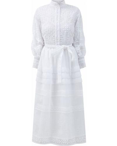 С рукавами пышное белое платье миди Ermanno Scervino
