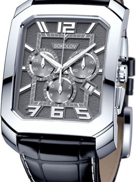 Часы водонепроницаемые с подсветкой с кожаным ремешком Sokolov
