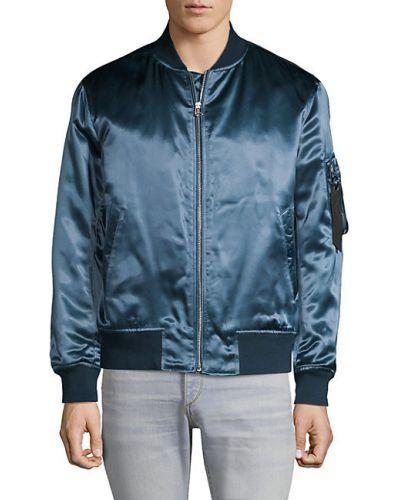 Satynowa niebieska długa kurtka z długimi rękawami Rag & Bone