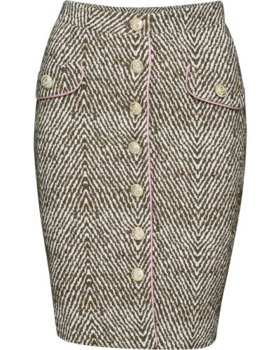 Юбка на пуговицах с узором гусиные лапки Bonprix