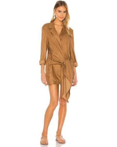 Brązowy włókienniczy sukienka mini na pięcie z kieszeniami L'academie