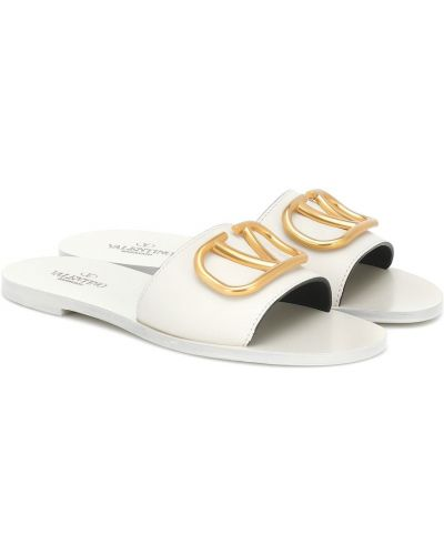 Золотистые белые шлепанцы металлические Valentino Garavani