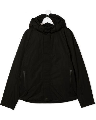 С рукавами классическая черная куртка с капюшоном Woolrich Kids