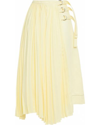 Желтая плиссированная юбка из вискозы Proenza Schouler