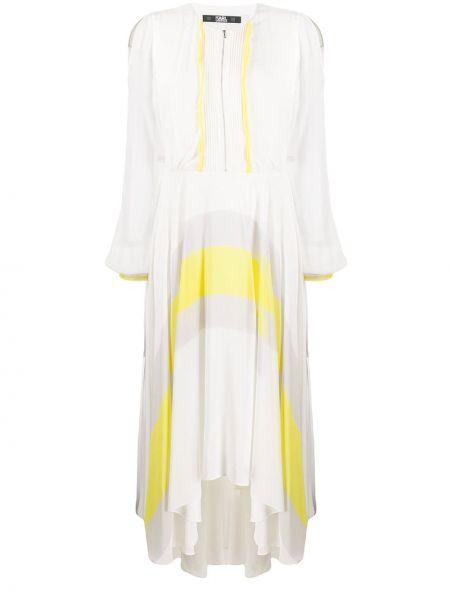 С рукавами белое платье макси с вырезом Karl Lagerfeld
