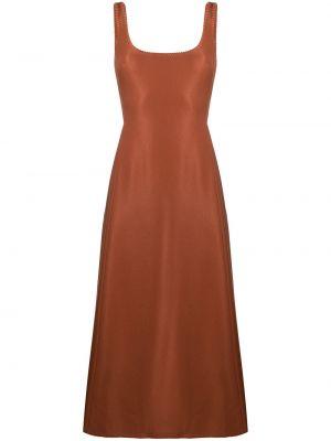 Brązowa sukienka w kształcie litery A z jedwabiu bez rękawów Gabriela Hearst
