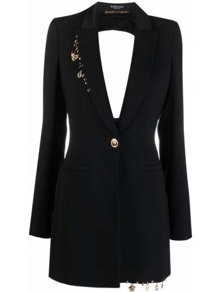 Черный удлиненный пиджак на пуговицах из вискозы Versace