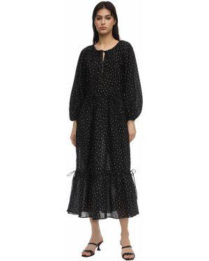 Czarna sukienka midi koronkowa bawełniana Bec & Bridge