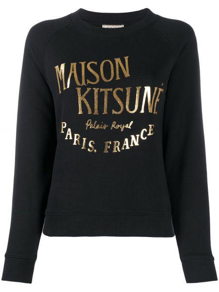 Хлопковая черная толстовка в рубчик с круглым вырезом Maison Kitsuné