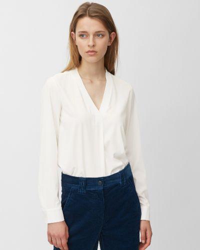 С рукавами белая блузка с длинным рукавом с V-образным вырезом свободного кроя Marc O' Polo