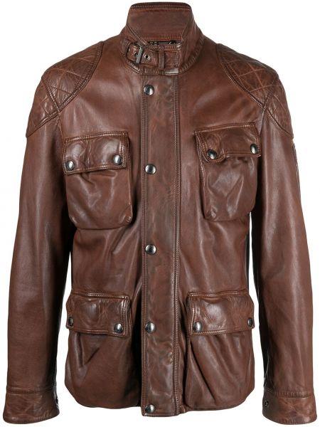 Z paskiem brązowy skórzany długa kurtka Belstaff