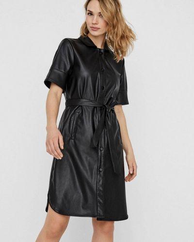 Кожаное черное платье Vero Moda