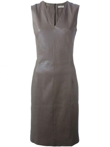 Brązowa sukienka skórzana bez rękawów Maison Ullens