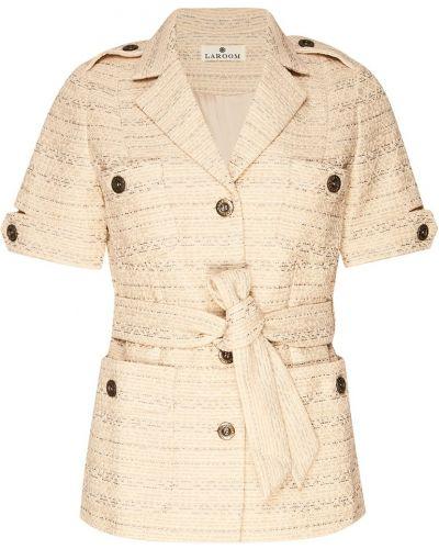 Бежевый прямой пиджак с рисунком с поясом Laroom
