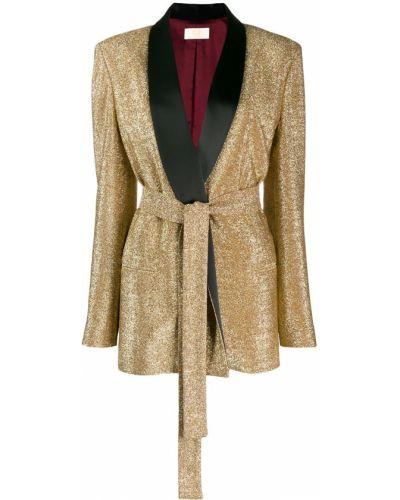 Прямой желтый удлиненный пиджак с карманами Sara Battaglia