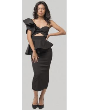 Черный костюмный вязаный юбочный костюм Lipinskaya Brand