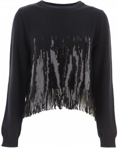 Prążkowany czarny sweter bawełniany Pinko