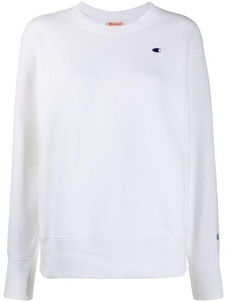 Ватный хлопковый белый свитшот с длинными рукавами Champion