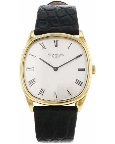 Белые с ремешком кожаные часы механические Patek Philippe