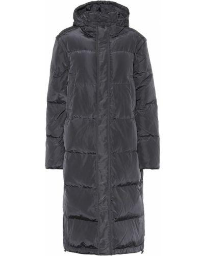 Черное пуховое пальто с капюшоном Ganni