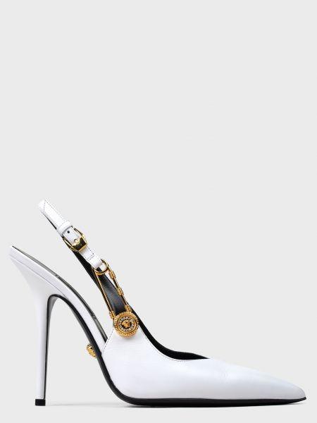 Кожаные босоножки - белые Versace