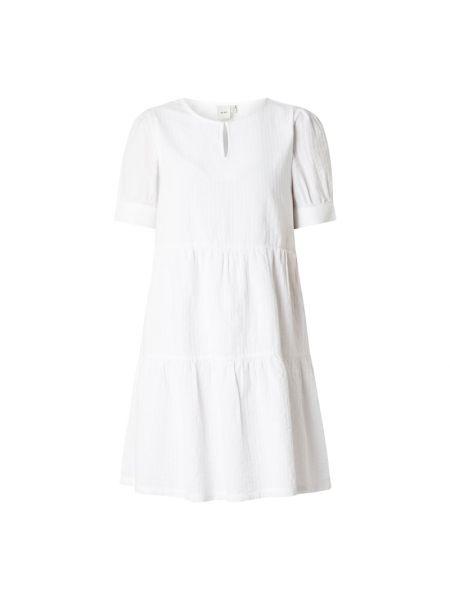 Biała sukienka rozkloszowana w paski Ichi