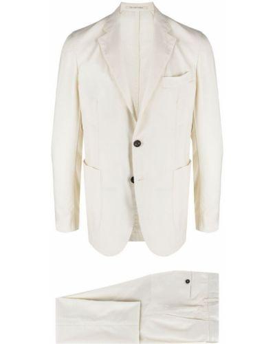 Biały garnitur wełniany z paskiem Bagnoli Sartoria Napoli