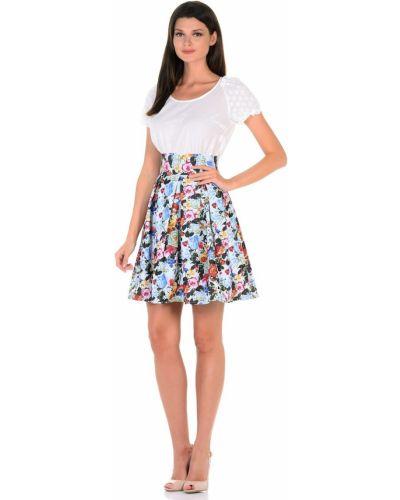 Джинсовая юбка с цветочным принтом в складку Cubo Nero
