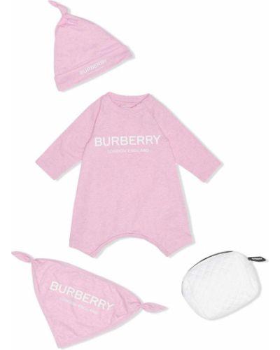 Розовая шапка круглая с вырезом Burberry Kids