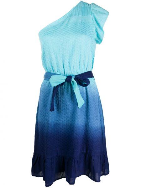 С рукавами хлопковое синее платье миди с оборками Cecilie Copenhagen