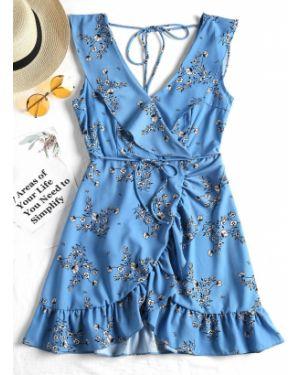 Платье с поясом с цветочным принтом с оборками Zaful