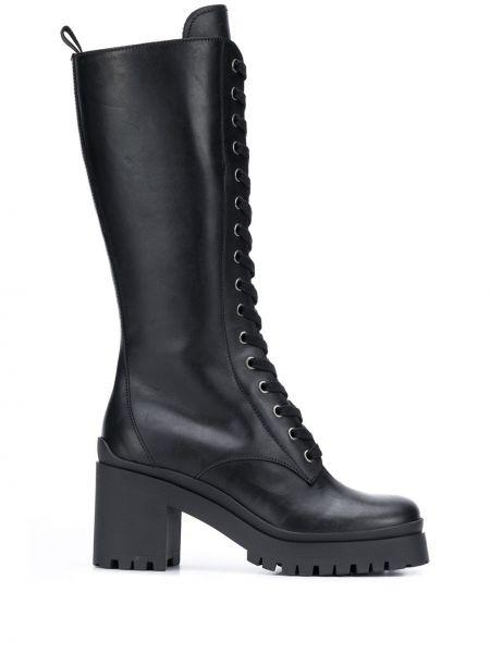 Czarny zasznurować buty w połowie kolana Miu Miu