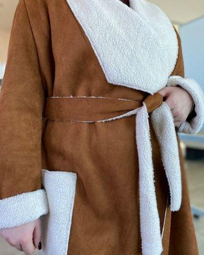 Пальто из овчины - серое Vovk